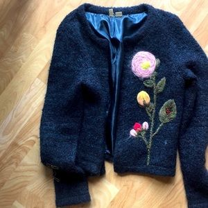 ANTHRO Moth Blue Sweater S embroidered lin…